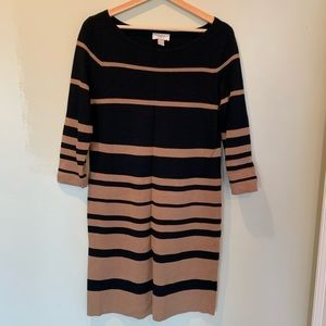 Loft fitted sweater dress with cropped sleeve